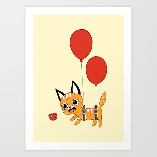 Balloon Cat Art Print