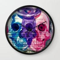 skulls Wall Clocks featuring Skulls by very giorgious