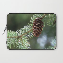 spruce cone 01 - brilliant green bokeh background nature photo Laptop Sleeve