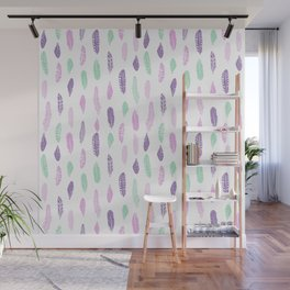 Feathers pastel lilac and mint pink nursery pattern minimal trendy boho hipster pattern Wall Mural