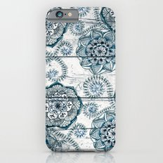 Navy Blue Floral Doodles on Wood Slim Case iPhone 6