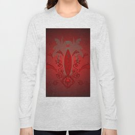 Sport, surfboard with floral elements and dolphin Long Sleeve T-shirt