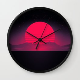 Synthwave Sunset Wall Clock