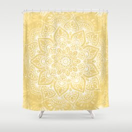Mandala, Boho Summer, Yellow Flower of Life Shower Curtain