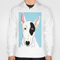 bull terrier Hoodies featuring Bull Terrier by EloiseArt