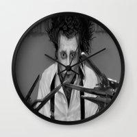 edward scissorhands Wall Clocks featuring Edward Scissorhands by ururuty
