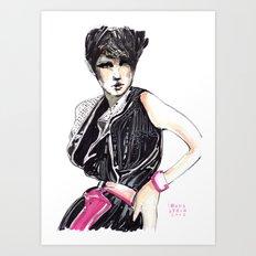 Fashion illustration in magenta Art Print