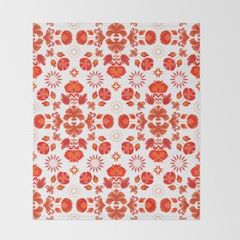 Fiesta Folk Red #society6 #folk Throw Blanket