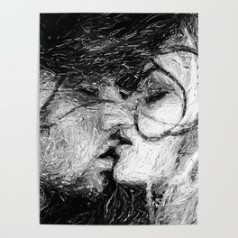 Abstract Ink Kiss Poster