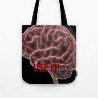brain Tote Bags featuring Brain by Lucia