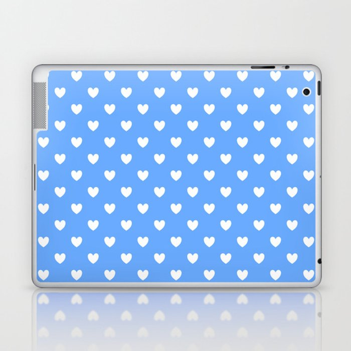Hearts on Sky Blue Laptop & iPad Skin