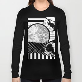 Eclectic Black And White - Black and White Abstract Patchwork Textured Design Long Sleeve T-shirt