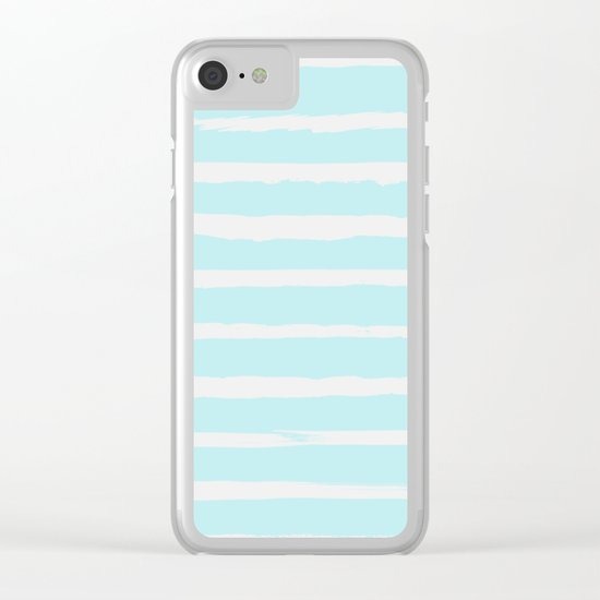 Irregular Hand Painted Stripes Mint Clear iPhone Case