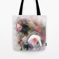 the winter soldier Tote Bags featuring Winter Soldier by NKlein Design