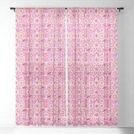 Mandala Pattern, Fuchsia, Coral and Peach Sheer Curtain