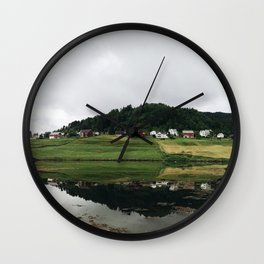 few houses on the lake in Norway Wall Clock