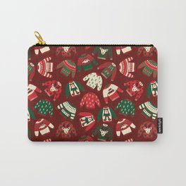 Ugly Christmas Sweaters Red Green Beige Carry-All Pouch