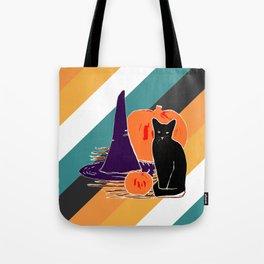 Witch Cat Pumpkin in Candy Corn Tote Bag