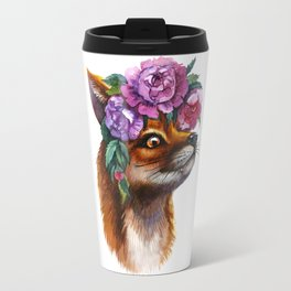 Red Fox and Peonies Travel Mug