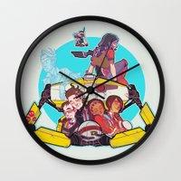 borderlands Wall Clocks featuring caravan fam by hydrae