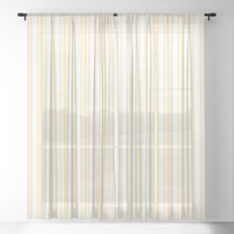 Trendy Large Buttercup Yellow Pastel Butter French Mattress Ticking Double Stripes Sheer Curtain