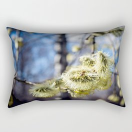 Willow Buds And Early Spring Bee Rectangular Pillow