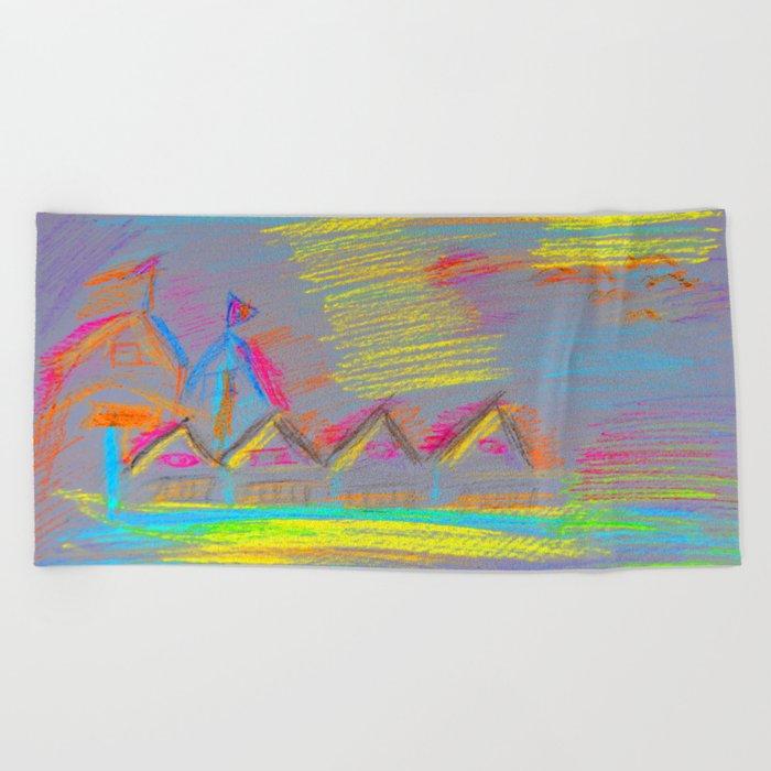 Colorful Village | Kids Painting Beach Towel