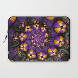 Playful Fractals Fun,  Modern Purple Yellow Spirals Laptop Sleeve