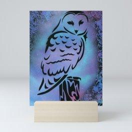 Galaxy Owl Mini Art Print