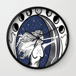Goddess of the Hunt Wall Clock