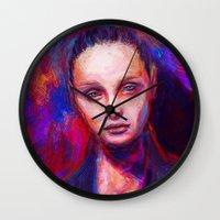 cyarin Wall Clocks featuring Sad eyes by Gyossaith