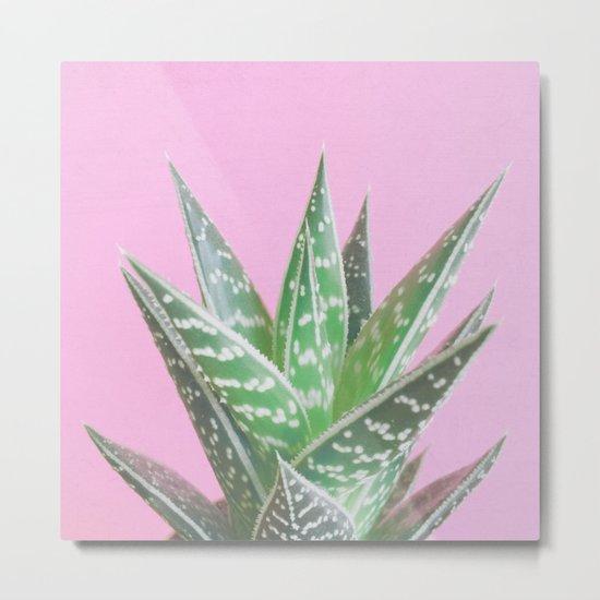 Pink Aloe Tiki Metal Print