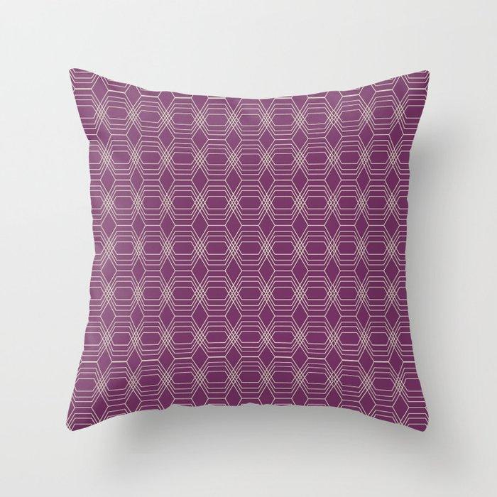 Hopscotch hex-Plum Throw Pillow