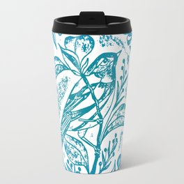 Songbird In Magnolia Wreath, Blue Linocut Travel Mug