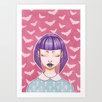 goth Art Prints featuring Pastel Goth by IMEON2