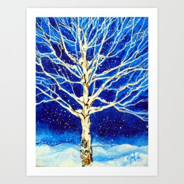 Aspen Quaking Quakie Tree Rocky Mountain Snowing Snow Winter Scene Blue Night Snowy Christmas Card  Art Print