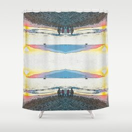 Pink and Blue Inverted Sunset at the beach Shower Curtain