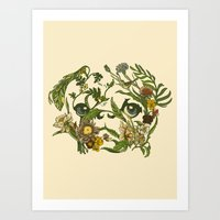 botanical Art Prints featuring Botanical Pug by Huebucket