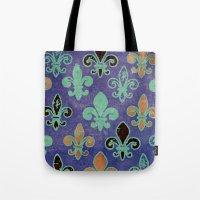 fleur de lis Tote Bags featuring Fleur de lis #6 by Camille