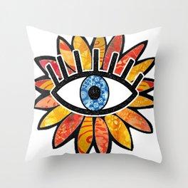 Greek Evil Eye Peach Flower Throw Pillow