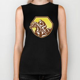 Thoroughbred Horse Racing Woodcut Retro Biker Tank