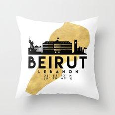 BEIRUT LEBANON SILHOUETTE SKYLINE MAP ART Throw Pillow