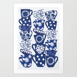 blue teacups Art Print