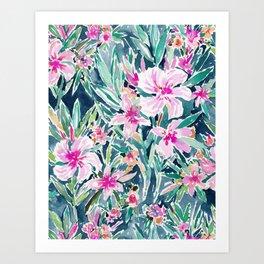 LUSH OLEANDER Tropical Watercolor Floral Art Print