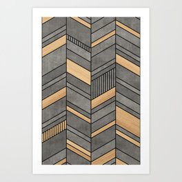 Abstract Chevron Pattern - Concrete and Wood Art Print