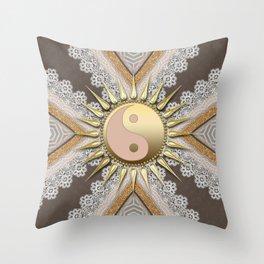 Sunny Yin Yang Gold Lace Throw Pillow
