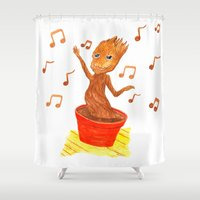 groot Shower Curtains featuring Baby Groot by gunberk