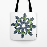 tits Tote Bags featuring Circling Blue Tits by BridJess
