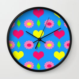 Daisy and heart print, turquoise, pink and yellow Wall Clock