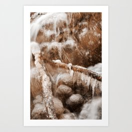 Frozen Harp Falls - Sepia Nostalgia Art Print